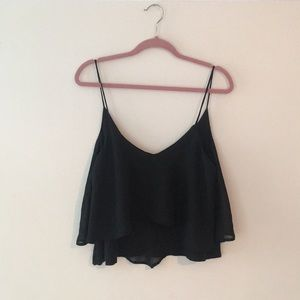 Black loose ruffled crop top cami Urban Outfitters